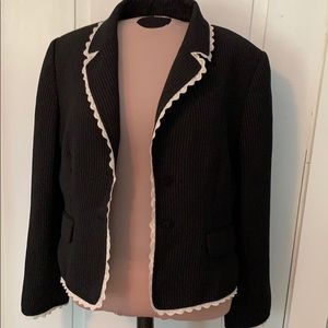 Tahari pinstriped blazer with lace details